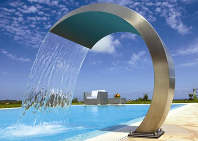 Simple Style Stainless Steel Water Fountain , Stainless Steel Pool Water Features