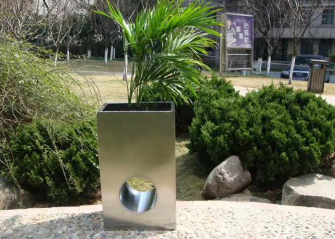 Eco Friendly Stainless Steel Garden Pots , Stainless Steel Plant Containers