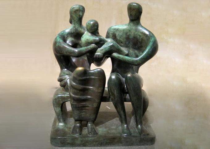 Handmade Lovely Family Life Size Bronze Statues Antique Design Customized Size