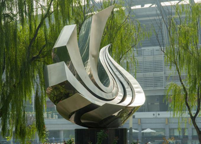 Large Polished Stainless Steel Sculpture Outdoor Metal