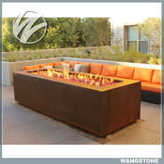 China Multi function Corten Steel Fire Pit Rectangle Metal Garden Fire Pit Metal Sculpture supplier