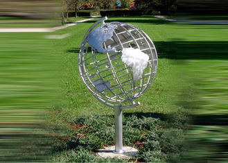 China Decorative Stainless Steel Sculpture With Semi - Meridian Globe Shape supplier
