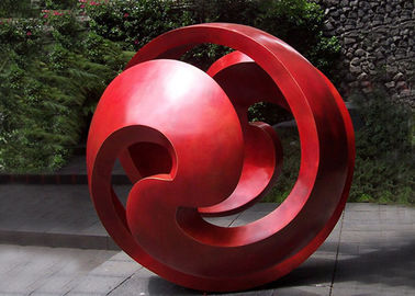Public Red Stainless Steel Sphere Sculpture / Large Metal Art Sculptures