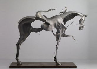 China 170cm Life Size Abstract Stainless Steel Horse Sculpture Brushed Finishing supplier
