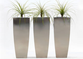 China Vertical Brushed Metal Stainless Steel Planter Simple Design 38*38*120 Cm supplier