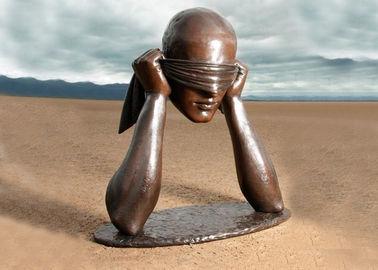 Contemporary Art Work Bronze Statue Blindfolded Man Head