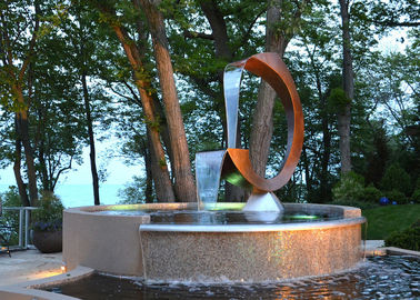 China Contemporary Corten Steel Water Feature Fountain C Shape For Outdoor supplier