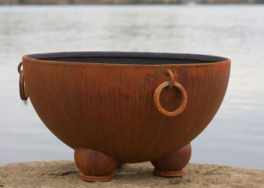 China Outdoor Ancient Design Rusted Steel Fire Pit , Copper Fire Pit Bowl For Yard supplier