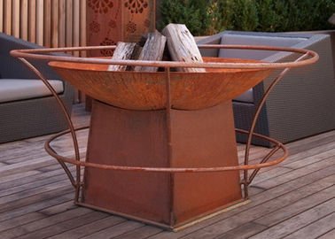 China Forging Technique Large Fire Pit Bowl , Corten Steel Outdoor Fire Bowls supplier