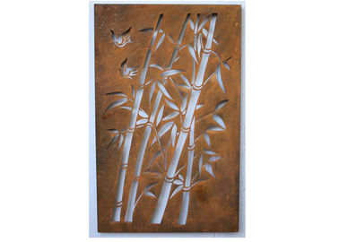 China Corten Steel Metal Wall Sculpture Bamboo Pattern For Commercial Receptions supplier
