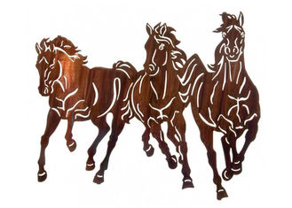 China Professional Large Wild Horse Wall Art Metal Sculpture For Home Decoration supplier