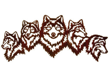China Vivid Five Wolves Contemporary Metal Wall Sculptures Popular Design supplier