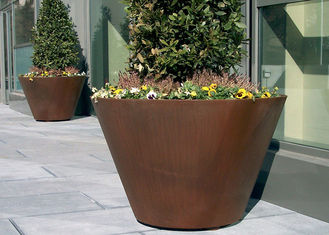 China Large Traditional Corten Steel Round Planter Various Sizes / Colors Available supplier