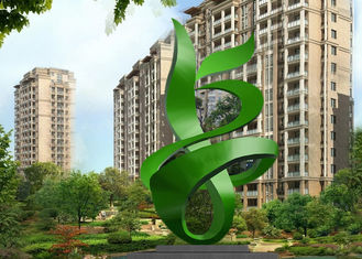 China Green Painted Contemporary Outdoor Metal Sculpture Abstract For Building supplier