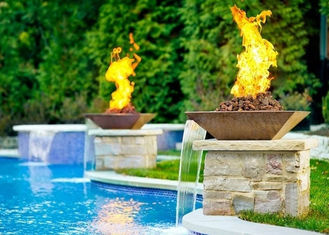Garden Fire Pit Water Feature Combo , Fire Pit And Water Feature 2.5mm Thicknes