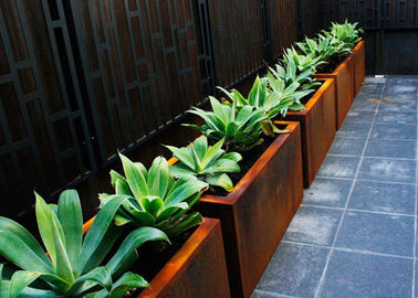 China Customized Square Metal Planters Outdoor Corten A Material 50cm Height supplier