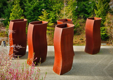 China Abstract Metal Flower Planters , Unique Corten Steel Pots Welding Craft supplier