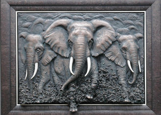 China Metal Wall Art Sculpture / Bronze Elephant Bas Relief Multi Function supplier
