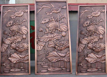 China Bronze Lotus Flower Bas Relief Plaques For Public Wall Art Decoration supplier
