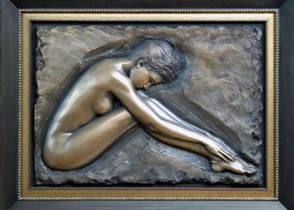 China Professional Metal Relief Sculpture , Nude Woman Wall Relief Sculpture supplier
