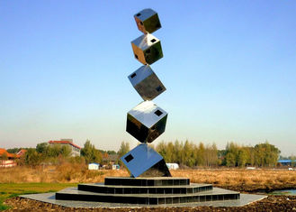 China Polished Large Garden Sculptures Metal , Cube Tower Stainless Steel Art Sculptures supplier