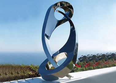 China Public Yin Yang Mirror Stainless Steel Sculpture For Decoration , 180cm Height supplier