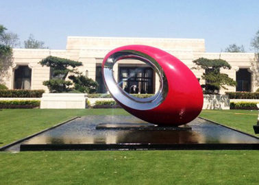 China Red Painted Metal Sculpture Oval Large Outdoor Sphere Modern Garden Art Sculptures supplier