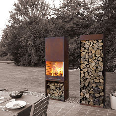 China Yard / Garden Cast Iron Fire Pot , Corten Steel Fire Pit Wood Burning Fireplace supplier