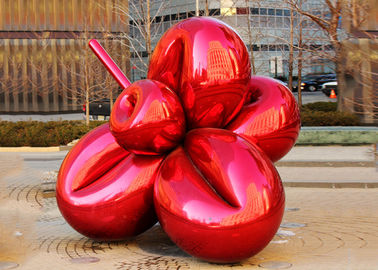 China Large Metal Plaza Decoration Painted Metal Sculpture Titanium Coating 300cm Length supplier