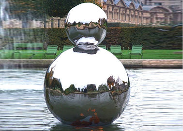 China Polished Stainless Steel Outdoor Sculpture Hollow Sphere Shaped For Pool Decoration supplier