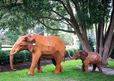 China Out Door Animal Corten Steel Sculpture Elephant Garden Statue Life Size supplier
