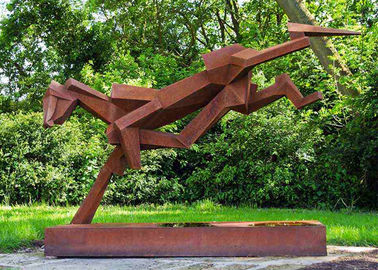 China Public Art Luxury Stainless Steel Outdoor Sculpture With Corten Steel Base supplier