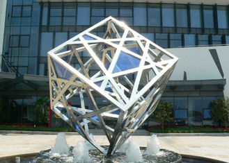 China Large Modern Cube Sculpture Stainless Steel Fountain Outdoor Decorative supplier