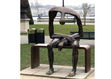 China Life Size Bronze Statue Garden Sitting On Bench Abstract Lonely Man Sculpture supplier