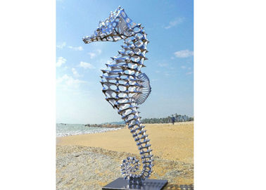 China Metal Animal Polished Stainless Steel Sculpture , Big Seahorse Sculpture supplier
