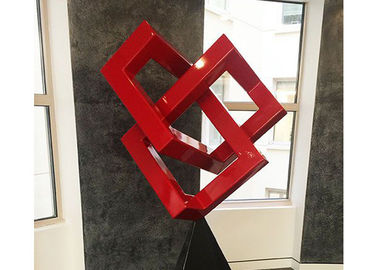 China Red Painted Metal Sculpture Modern Art Geometric Sculpture For Decoration supplier