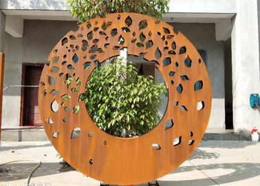 China Laser Cut Ring Design Contemporary Sculpture Garden Decor Panel Screen supplier