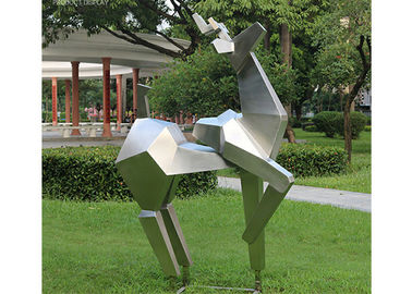 China Animal Statue Stainless Steel Metal Sculpture Garden Abstract Deer Sculpture supplier