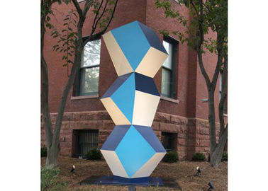 China Stainless Steel Outdoor Art Painted Metal Sculpture Geometric Decor Sculpture supplier