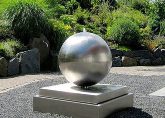 China Brushed Outdoor Wangstone Decor Sculpture Stainless Steel Water Ball Fountain supplier