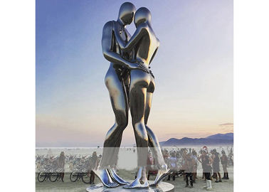 China Square Decoration Modern Stainless Steel Sculpture Metal Lover Sculptures supplier