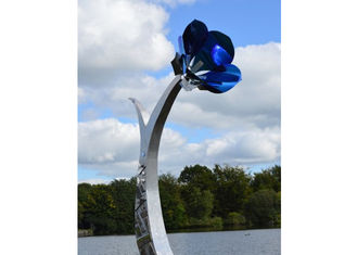 China Garden Decor Blue Color Metal Flower Sculpture Stainless Steel Painted Finish supplier