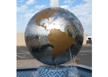 China Globe Water Fountain Stainless Steel Outdoor Sculpture Modern Art Design supplier