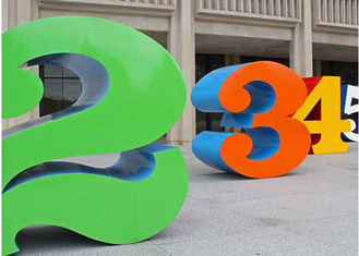 China Painted Stainless Steel Number Sculpture For Public , Metal Garden Sculptures supplier