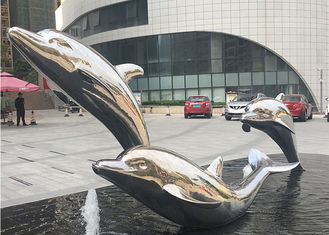 Lifelike Life Size Metal Dolphin Sculpture Stainless Steel Outdoor Sculpture For Water Fountain