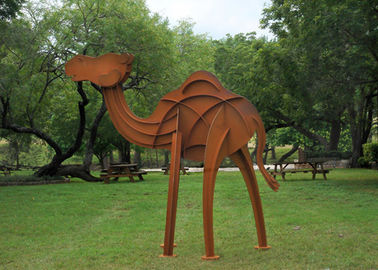 Decoration Rusty Finish Camel Metal Yard Sculptures Of Corten Steel Longlife