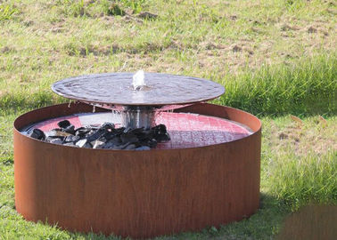 China Round Waterfall Cascade Corten Steel Water Feature Fountain For Garden supplier