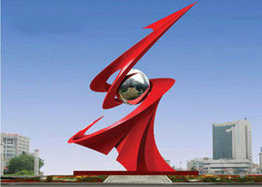Large Red Painted Monumental Stainless Steel Sculpture For Outdoor Decorative