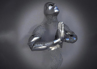 China Home Decor Figurative 3d Wall Man Stainless Steel Art Sculptures Matt Finish supplier