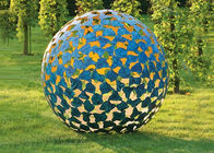 China Large Luminous Sphere Painted Metal Sculpture For Garden Decoration 100cm Dia factory